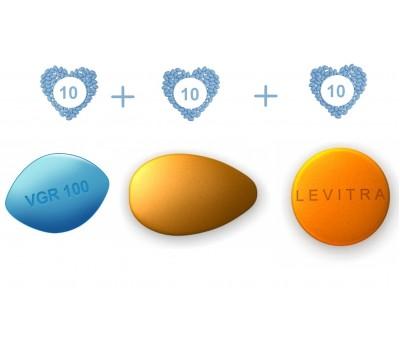 ED Advanced Pack - Viagra 100 mg, Cialis 10 mg  and  Levitra 20 mg - 10 pills each