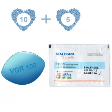 Jelly Pack 15 - Viagra (10 pills) and Viagra Jelly (5 sachets), both at 100 mg